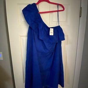 ** NWT ONE SHOULDER ROYAL BLUE J.CREW DRESS **